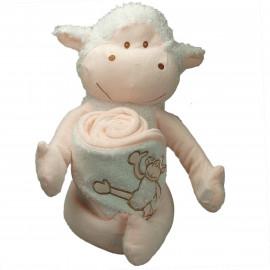 Doudou Cape de bain brodée Mouton