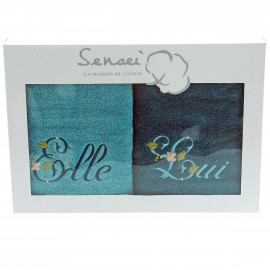 Coffret cadeau serviettes brodées Elle et Lui