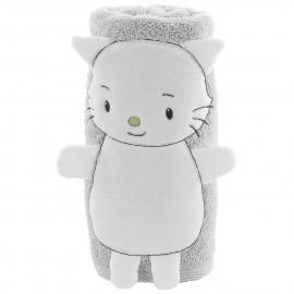 Serviette de bain personnalisée bébé en forme de chatounet