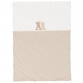 Couvre-lit bébé coton jersey Pompon Le Lapin à personnaliser