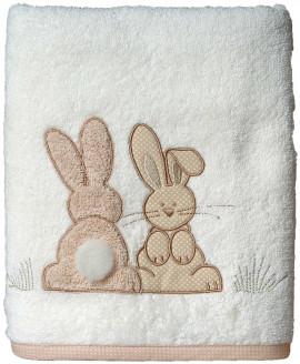 Serviette de bain personnalisée brodée Pompon le Lapin