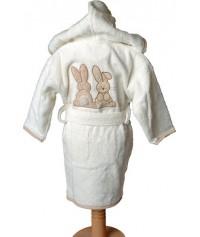 Peignoir personnalisé bébé brodé Pompon Le Lapin (1 an)