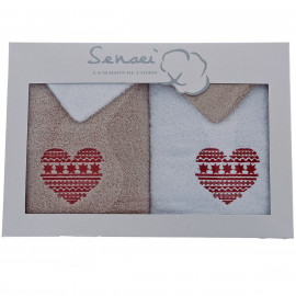 Coffret cadeau serviettes brodées Coeur