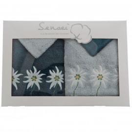 Coffret cadeau serviettes brodées Edelweiss