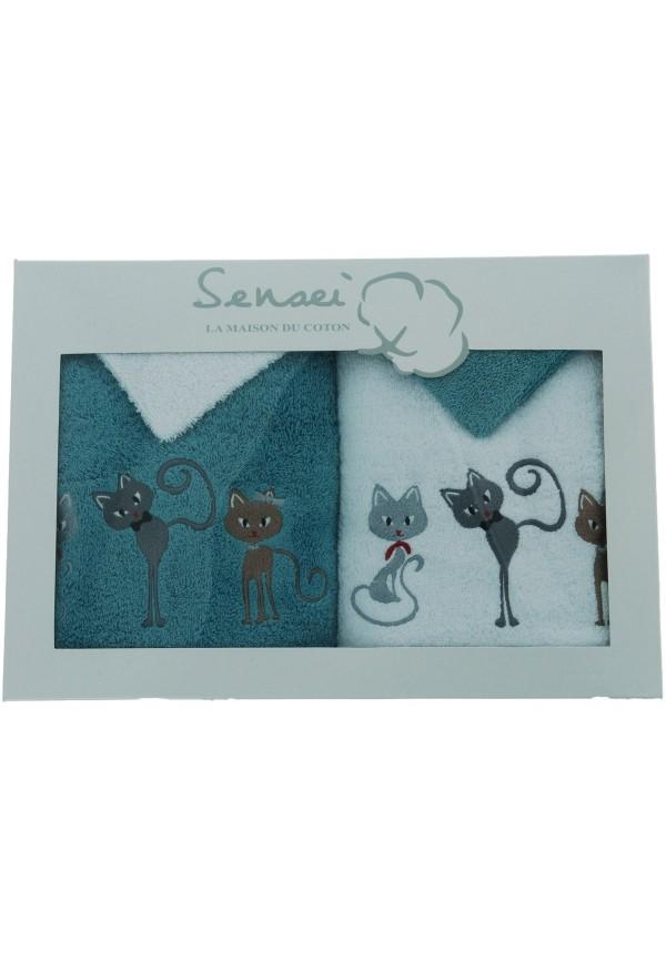 Coffret cadeau serviettes brodées Cats