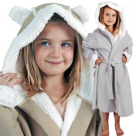Peignoir peau lainé enfant uni à capuche
