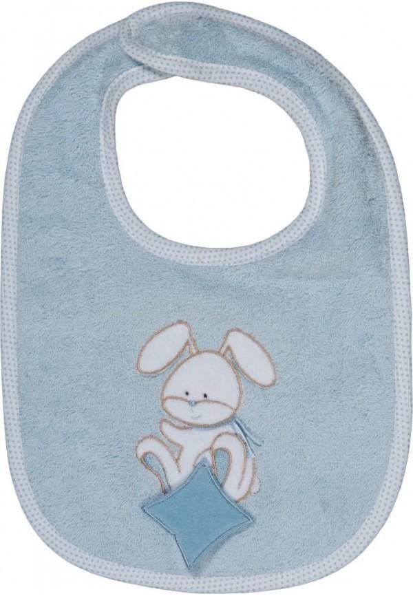 Bavoir bébé personnalisé brodé Doudou Rabbit ciel