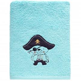 Serviette de toilette personnalisée brodée ours Pirate