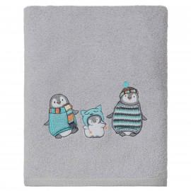 Serviette de bain personnalisée brodée Pingouin 70x130cm