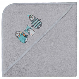 Cape de bain personnalisée brodée Pingouin
