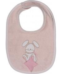 Bavoir bébé personnalisé brodé Doudou Rabbit Rose