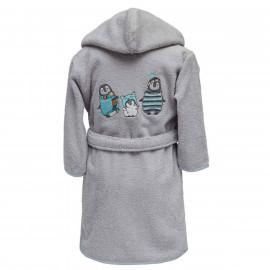 Peignoir personnalisé bébé brodé Pingouin (1 et 2 ans)