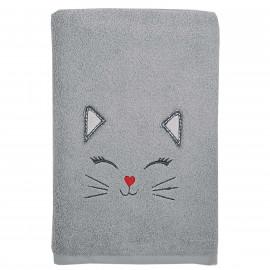Serviette de bain personnalisée brodée Chat Kooky 70x130cm