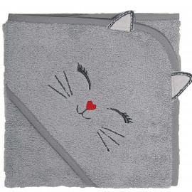 Cape de bain personnalisée brodée Chat Kooky