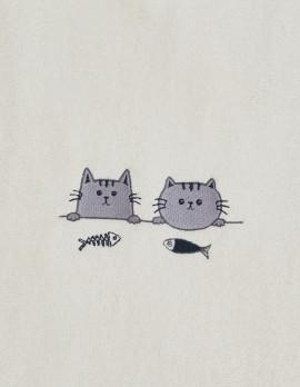 Serviette de toilette enfant brodée mini chat personnalisée